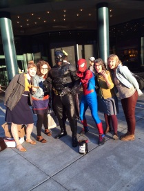 Posing with the superheroes (the Fancy Tiger duo! Batman and Spiderman were pretty neat, too.)
