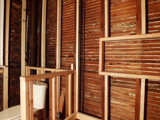 bathroom renovation framing progress