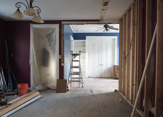 View into dining room after demo
